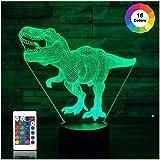 T Rex 3D-nachtlampje met dinosaurus, 16 kleuren, de nachtlampjes voor kinderen met afstandsbediening, verjaardagscadeau voor