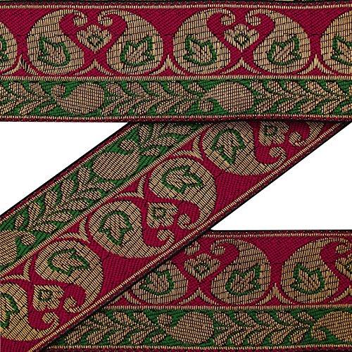 Vintage Indian Sari Grenze Maroon Woven Gebrauchte Stoff Deco Naehspitze 1 Yd -