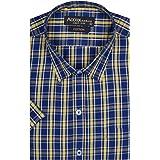 ACCOX Men's Half Sleeves Formal Regular Fit Cotton Checkred Shirt(GO591)