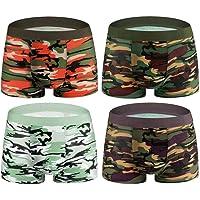 kolila Boxer Briefs 4 Pack No Ride-up Comfortable Breathable Cotton Sport Multiple Colors Patterns Short Leg Underwear
