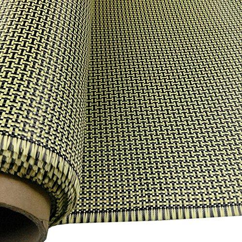 """3K 200g fibra di carbonio mescolare tessuto aramidico giallo 2x2 Twill I Tessuto di forma 40 \""""x 40\"""""""
