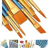 فرشاة الرسم الفنية من آوك مجموعة فرشاة تنقيط مسطحة للفنانين الكبار، معدات طلاء زيتي أكريليك بالألوان المائية (أزرق اللون)