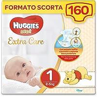 Huggies Extra Care Bebè Taglia 1 (2-5Kg), 4 Confezioni da 40 Pannolini, 3290 Gr