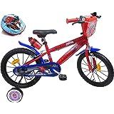 Kinderfiets 16 inch met 2 remmen, decoratieve voorplaat, drinkfleshouder, spatbord, opblaasbare banden + helm, Spiderman incl