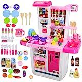 deAO My Little Chef Keukenspeelset met geluiden, touchscreen-paneel en waterspelletjes, meer dan 40 accessoires inbegrepen (r