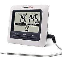 ThermoPro TP04 Termometro Cucina Digitale con Una Sonda e modalità Timer per Alimenti Carne Barbecue BBQ Forno Griglia…