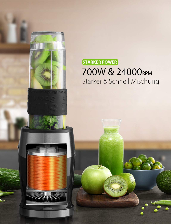 Smoothie-Mixer-UPGRADED-Willsence-700W-Standmixer-Smoothie-Maker-Single-Serve-Mini-Bullet-Mixer-mit-2-Tritan-Sportflasche-fr-Sfte-Shakes-und-Smoothie