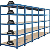 Mega Deal | Lot économique de 5 x rayonnage pour charges lourdes| Profondeur 60 cm | 200 kg charge max. par étagère | Rayonna