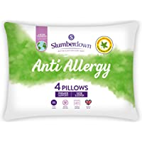 Slumberdown Anti Allergy White Pillows Pack of 4 Firm Support Bed Pillows Designed for Back and Side Sleepers Bed…