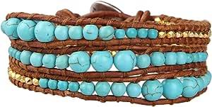 KELITCH Verde Aventurine e Blu Amazzonite Semi Preziose Pietra 3 Wrap Pelle Bracciali