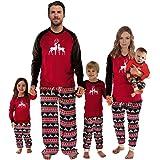 Conjunto de Pijamas Familiares de Navidad Manga Larga Familia Juego Homewear Copo de Nieve Ciervos Impresión 2 Piezas Ropa de