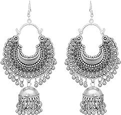 RC Afgani Chand German Silver Oxidized Jhumki Earrings for Girls and Women