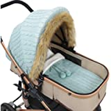 Haokaini Baby Stroller Cover Sleeping Bag Set Windproof Newborn Infant Carseat Canopy Stroller Wrap Knitted Stroller…