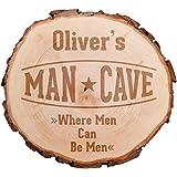 Casa Vivente Baumscheibe mit hochwertiger Gravur Man Cave - Personalisiert mit Namen - Gartenschild aus Holz - Gartenschilder mit Sprüchen - Haustürschild Mann - Haustürschilder mit Namen