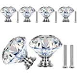 VIPMOON 30mm witte diamant vorm kristal glas handvat Pull knoppen 6 stuks. 6-PACK A