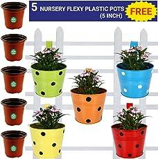 Trust basket Single Pot Railing Planter, Set of 5 (Red, Yellow, Blue, Orange, Green)