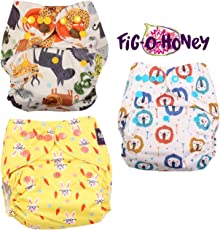 Fig O Honey Reusable One Size Baby Cloth Diapers | Multi-Color Baby Cloth Nappy with Free Absorbent Inserts | Washable Elastic Cloth Diapers | Reusable Elastic Printed Cloth Diapers | ( Jungle Safari, Lion & Bunny/Rabbit Print Combo )