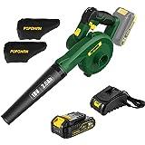 POPOMAN Soplador de Hojas 18V, Soplador Electrico 2.0Ah, Soplador/Aspiradora 2 en 1 para Limpiar Polvo y Basura pequeña, Carg