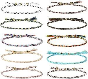 CheersLife 10 Pezzi Braccialetto Amicizia Intrecciato per Donna Ragazza Bracciali Eleganti Ideale Regalo Multi Colore
