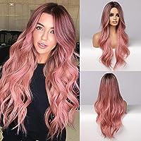 Lange wellenförmige rosa Perücke für Frauen, natürliche Strandwelle lockiges Haar mittlerer Teil synthetische Perücken…