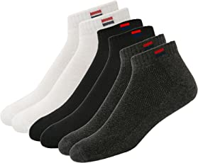 Navy Sport Men's Solid Ankle Length Socks - Pack of 3 - NS2_Black/White