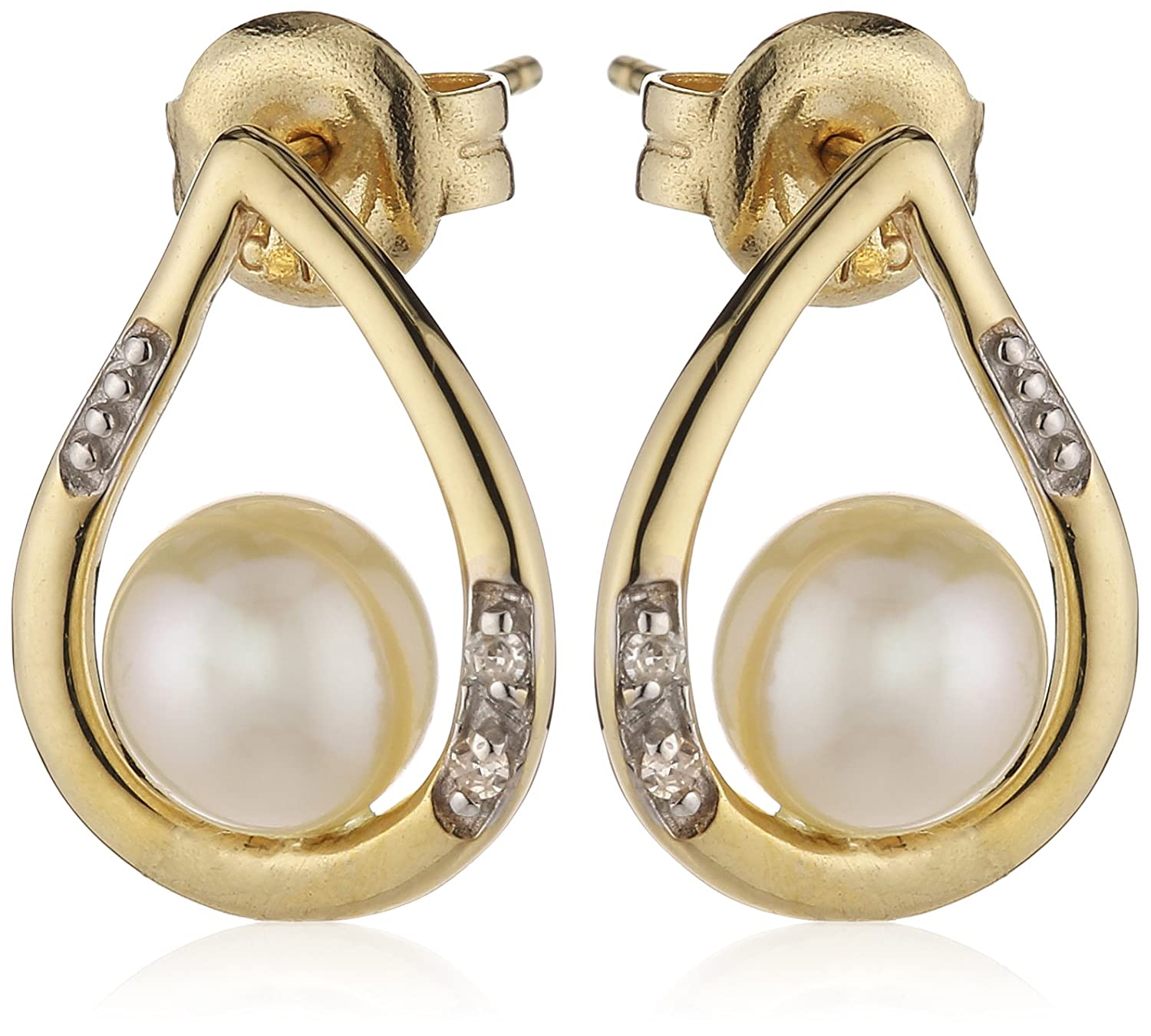 MiChic Premium 9ct Gold Diamond and Freshwater Pearl Earrings