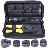 Amzdeal Crimpadora con 5 Pinzas Intercambiables 1*destornillador y 1 *caja de Almacenamiento para la Deformación del Cable de