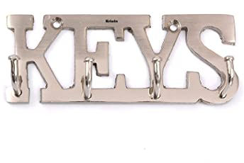 Kriwin Keys Key Holder Stainless Steel Finish 11 Cms X 4 Cms (Silver) With For Home, Office, Decor, Gift 2 Free Key Chains