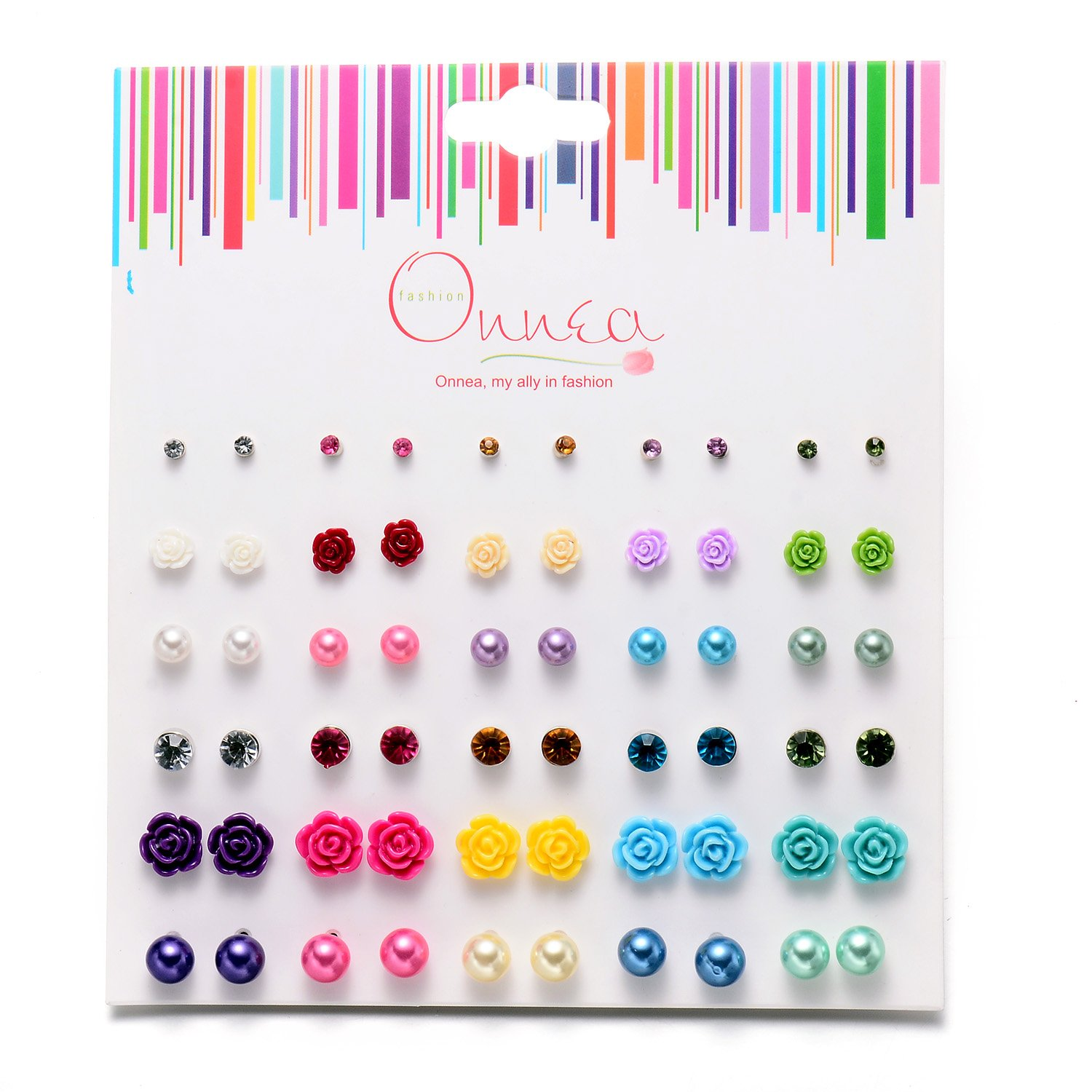 Onnea 30 Pack Stud Earrings Set for Girls Assorted Multiple Ball Crystal Rose Flower
