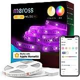 WiFi Tiras LED Inteligente, Meross 5M RGBW LED Tiras Funciona con Homekit Alexa Google Home, Tiras de Luces LED para Dormitor