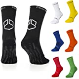PremSox Football Grip Socks Non Slip Sports Sock featuring Anti-Skid Rubber Pads inside and out Low Mid-Calf Non Slip Cushion
