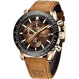 BENYAR Relojes Hombre Relojes de Pulsera Cronografo Diseñador Impermeable Reloj Hombre Banda de Cuero Analogicos Fecha de Pul