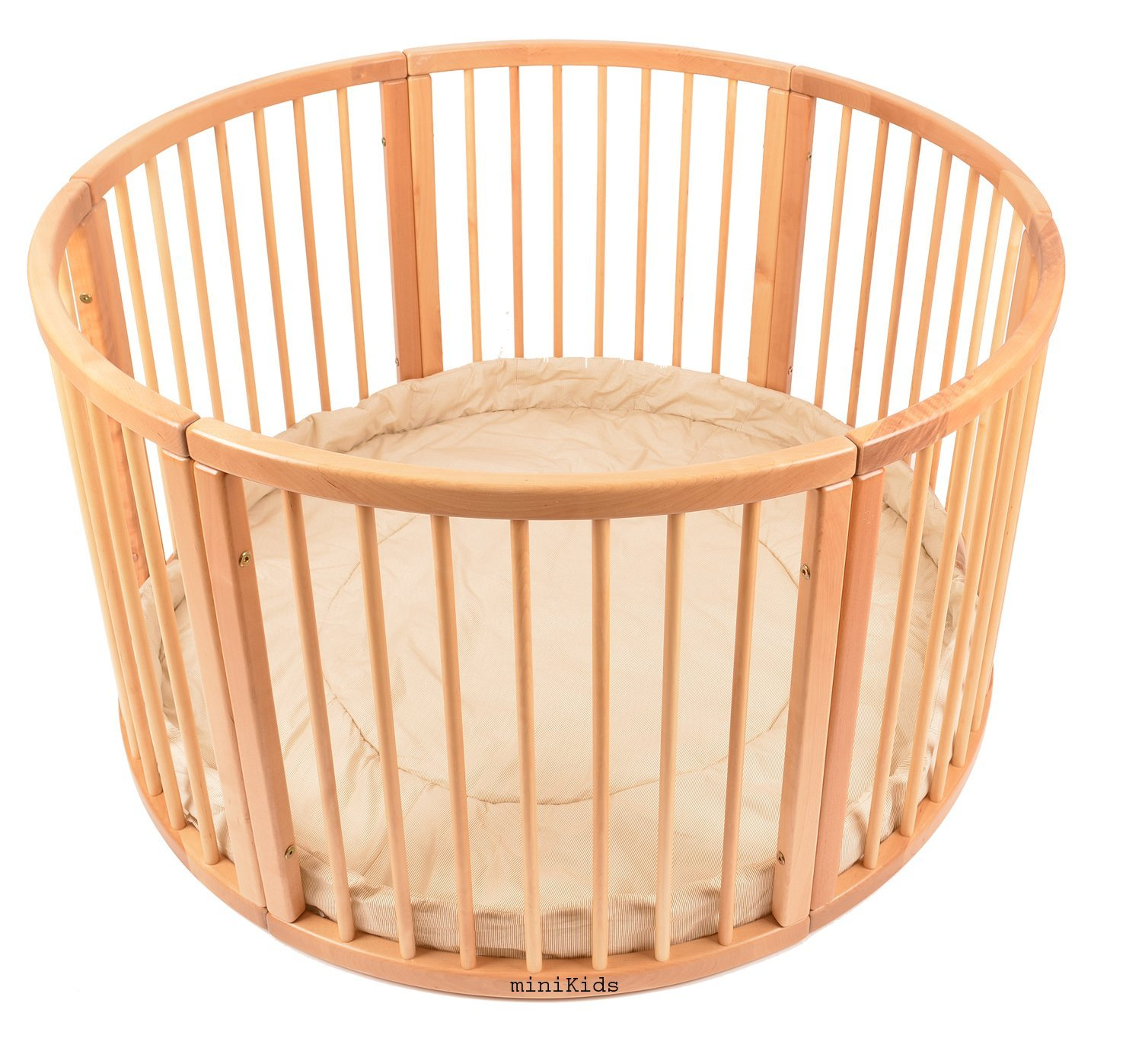 VERY LARGE WOODEN BABY PLAYPEN (Ø 120cm) WITH PLAYMAT (Stripes) miniKids Height 70 cm approx; Ø 120cm Playpen from ALANEL MADE IN EUROPE including Playmat 1