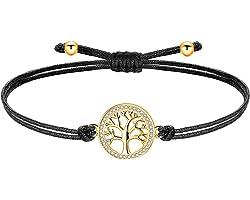 ZENI Bracelet Arbre de Vie Femmes Filles Cuivre Zircon Cubique Breloque avec Cordon Chaîne, Fait Main, Réglable
