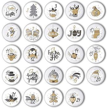 24 adventskalender zahlen buttons bunte nummerierte anstecker xmas 3 25 mm zum. Black Bedroom Furniture Sets. Home Design Ideas