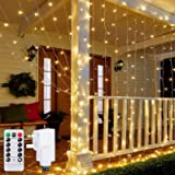 Ollny Curtain Lights Mains Powered, 3m x 3m 300 LED Christmas Fairy String Lights with 8 Modes Remote Control for Indoor…