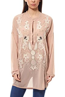 30291baad9 Ashley Brooke par Heine Mesdames Tunique en Mousseline de Soie Rose
