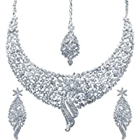 Sukkhi Glimmery Rhodium Plated Wedding Jewellery Austrian Diamond Choker Necklace Set for Women (1070VN2150_AMZ)
