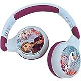 LEXIBOOK- Auriculares Bluetooth 2 en 1 Frozen Disney Elsa Anna Olaf-Estéreo inalámbrico, Seguro niñas, Plegable, Ajustable, A