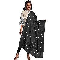 Color Nirvana Women's 100% Pure Cotton Solid Plain Simple Bandhani Dupatta