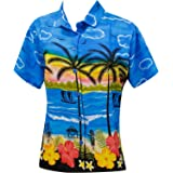 LA LEELA Women's Tunic Hawaiian Shirts V-Neck Summer Tops DU