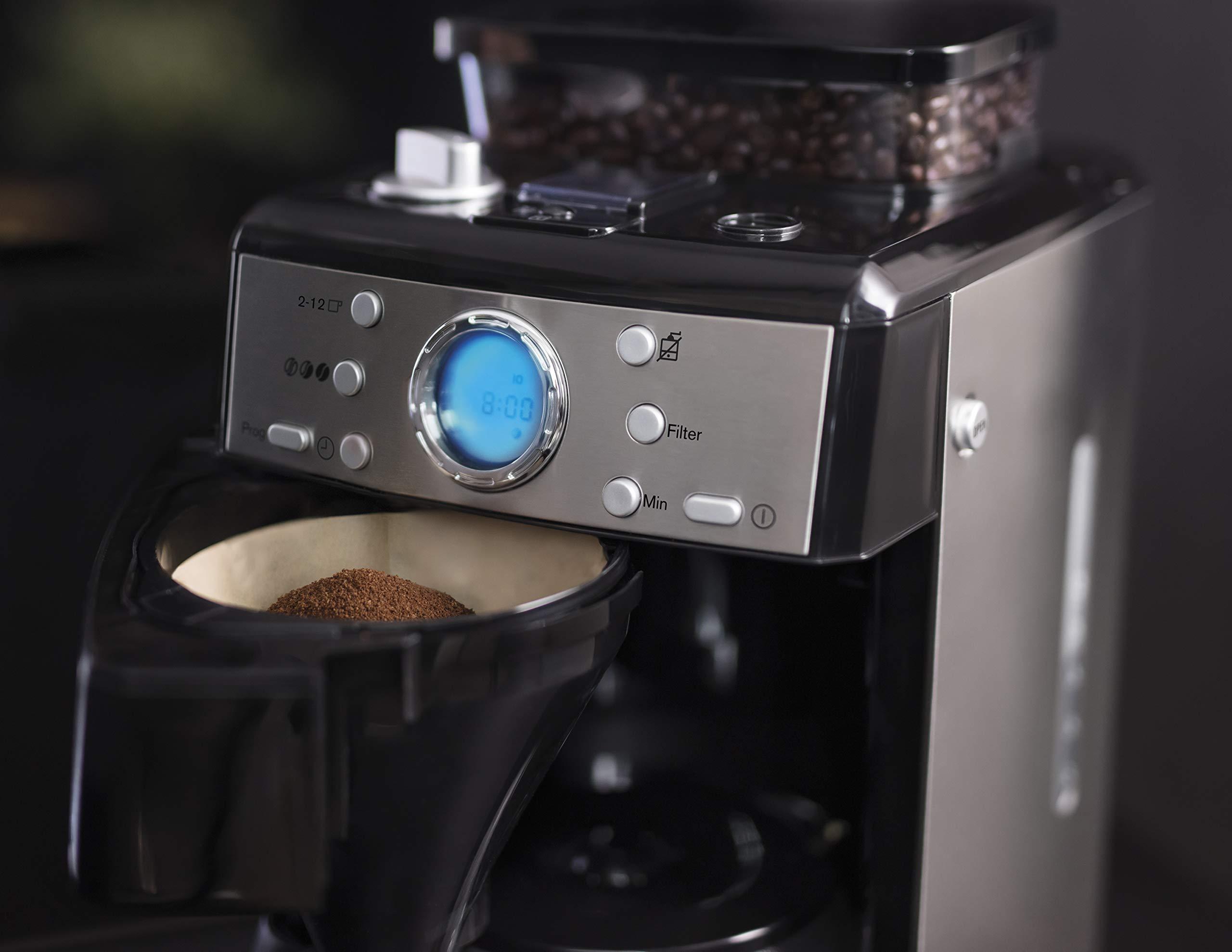 AEG-KAM-400-Kaffeemaschine-Kaffeeautomat-125-Liter-integrierte-Mahlwerk-9-Individuelle-Mahlgradeinstellungen-Edelstahl