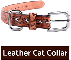 PetSutra Leather Cat Collars Multiple Sizes and Colors (Embossed, Large 14 inch)