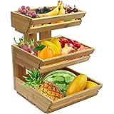 Panier à fruits à 3 étages pour plan de travail - Support de rangement pour fruits, légumes, collations