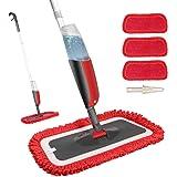 Fixget Balai Lave Sol avec Vaporise, Balais Serpillère, Spray Mop Microfibre, Vadrouille Plate avec 3 Tampons de Rechange pou