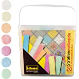 Idena 60042 - Straßenmalkreide in eckiger Box mit Henkel, 20 Stangen in 7 Farben, zum Bemalen von Asphalt, Pflaster oder…