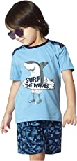 Night Suit for Toddlers - Blue Color - Soft Sinker Material - Printed Night Suit - Half Sleeves Tshirt and Bermuda Set - Available for 2/3/4/5/6 Year old Boys - Casual wear for Kids