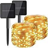 Hepside Guirnaldas Luces Exterior Solar, [2 Pack] Luces Solares LED Exterior Jardin 12m 120 LED 8 Modos Guirnalda Solar Imper