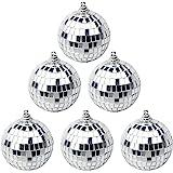 Suaywo 6Pcs Silver Mirror Ball Baubles Mirror Disco Ball Baubles Christmas Tree Bauble Disco Ball for Wedding Home Party Scen