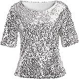 Longra Donna T-Shirt a Maniche Corte con Paillettes Camicia Girocollo Estiva Sexy Tumblr Pullover Camicetta Maglietta da Donn
